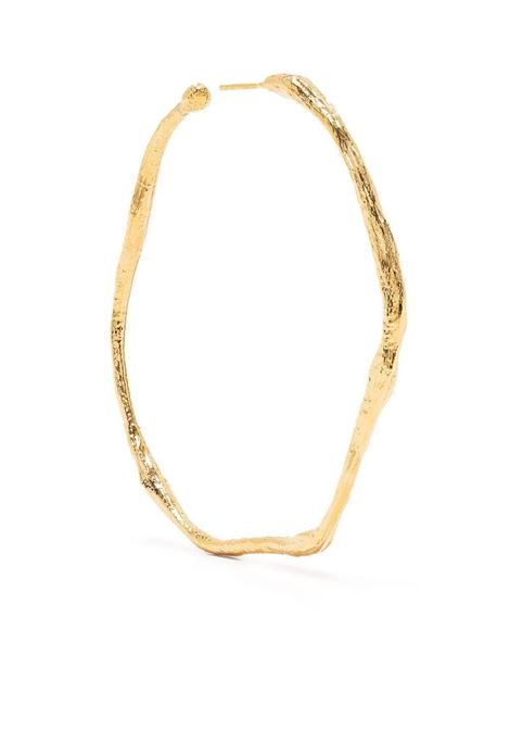 24kt gold plated brass uneven hoop earrings  FORTE_FORTE |  | 8290ORO