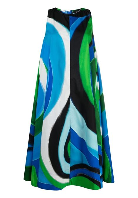 Blue and green cotton abstract print swing dress   GIANLUCA CAPANNOLO |  | 21EA06-200 POLETTE119762