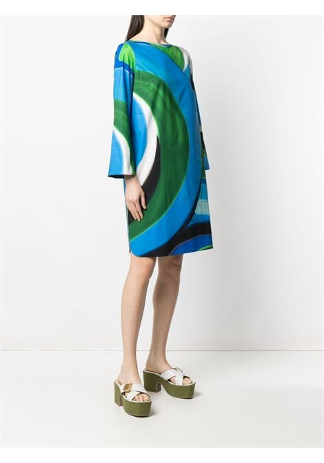 Green and blue cotton abstract print shift dress  GIANLUCA CAPANNOLO |  | 21EA1144-200 CLORIS119762