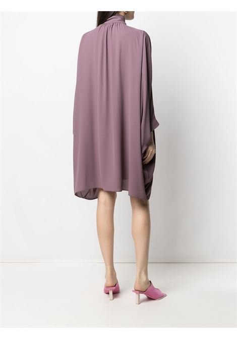 Plum bow tie shift dress featuring pussy-bow collar GIANLUCA CAPANNOLO |  | 21EA1166-250 ENDORA328