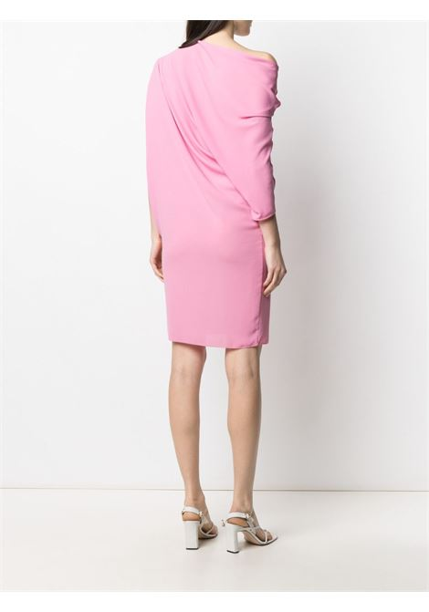 Pink draped asymmetric-sleeve dress featuring  gathered detailing GIANLUCA CAPANNOLO |  | 21EA1167-250 MAJA257