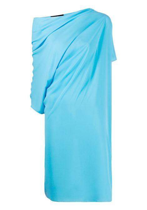 Abito blu drappeggiato con maniche asimmetriche e dettagli arricciati GIANLUCA CAPANNOLO |  | 21EA1167-250 MAJA267