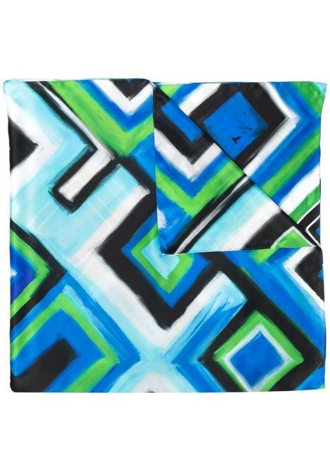 Sciarpa con stampa geometrica blu e verde GIANLUCA CAPANNOLO | Sciarpe e foulards | 21EC03--350119761