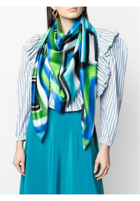 Blue and green geometric print scarf   GIANLUCA CAPANNOLO |  | 21EC03--350119761