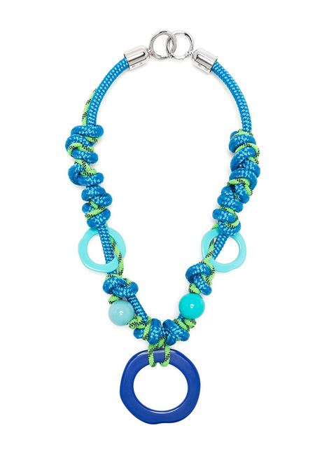 Blue and green circular pendant cord necklace featuring spring-ring fastening GIANLUCA CAPANNOLO |  | 21EC21-IRIS3