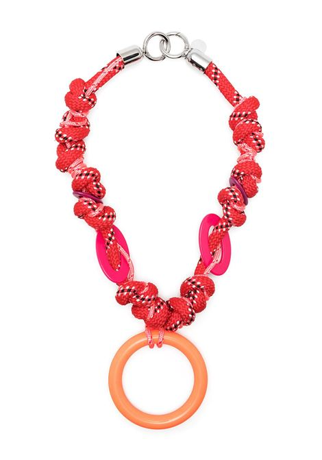 Red,pink and orange circular pendant cord necklace  GIANLUCA CAPANNOLO |  | 21EC21-IRIS4