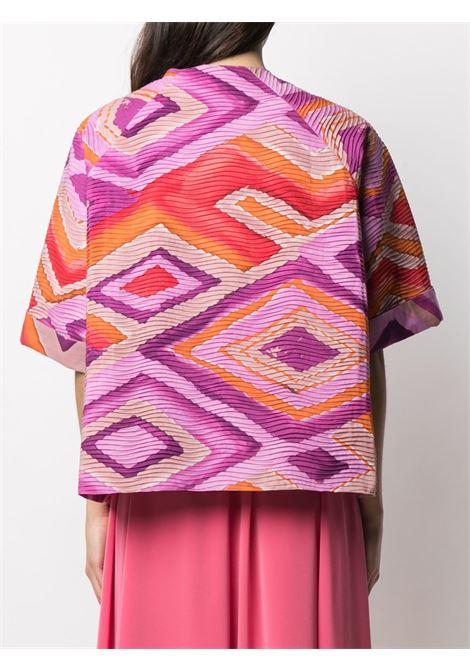 Pink cotton aztec-print cropped jacket  GIANLUCA CAPANNOLO |  | 21EG210-100 MINA119761