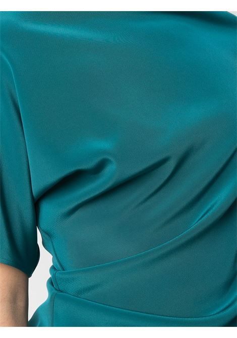 Teal blue asymmetric draped blouse featuring  concealed side zip GIANLUCA CAPANNOLO |  | 21ET577-300-MAJA649