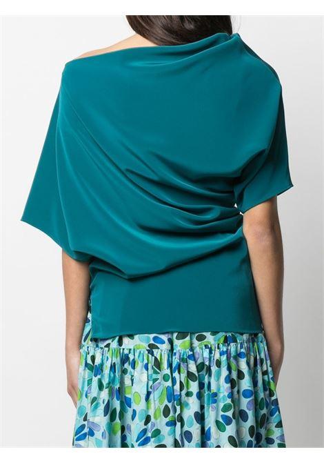 Blusa blu ottanio drappeggiata asimmetrica con chiusura laterale GIANLUCA CAPANNOLO | Camicie | 21ET577-300-MAJA649