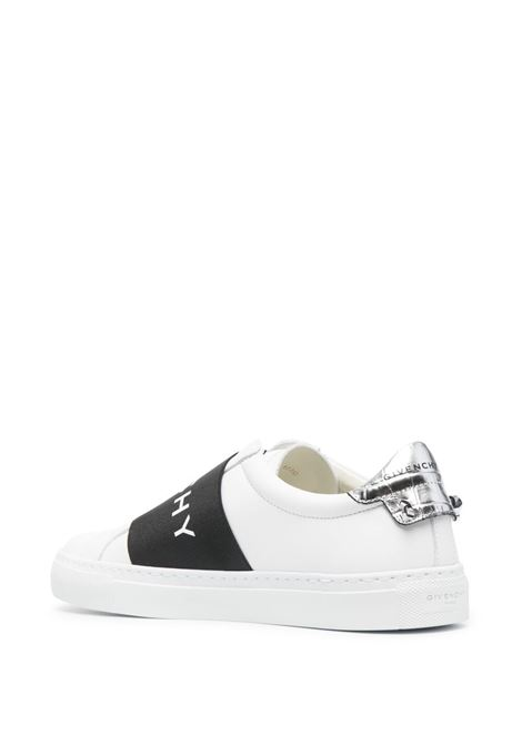 White calf leather slip on sneakers featuring black strap with Givenchy logo  GIVENCHY |  | BE0005E10H132