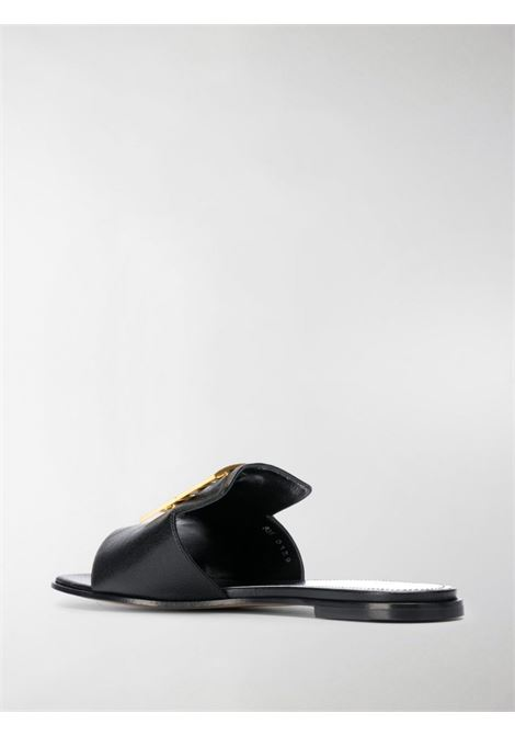 black goat leather 4G flat sandals with gold front Givenchy logo plaque GIVENCHY |  | BE303AE05V001