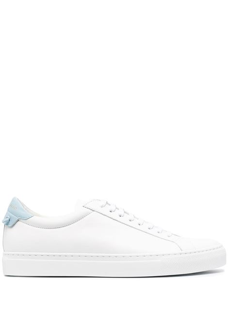 White calf leather Urban Street low-top sneakers with sky blue heel counter GIVENCHY |  | BH0002H0FS128