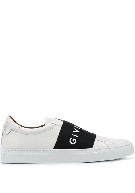 White calf leather Paris slip-on featuring black strap featuring Givenchy white logo lettering  GIVENCHY |  | BH0002H0FU116