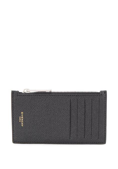 Portacarte con zip Eros in pelle di vitello grigio scuro con dettagli oro GIVENCHY | Portacarte | BK6001K0UF-ZIPPED CARD HOLDER001