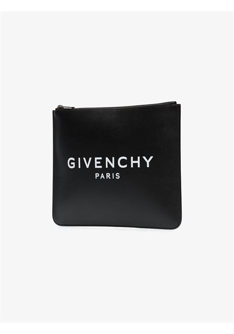 black calf leather clutch featuring white Givenchy logo GIVENCHY |  | BK600JK0AC-LARGE ZIPPED POUCH001