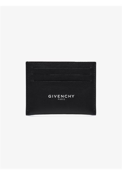 Portacarte in pelle nera con stampa logata Givenchy bianca GIVENCHY | Portacarte | BK601KK0AC-CARD HOLDER001