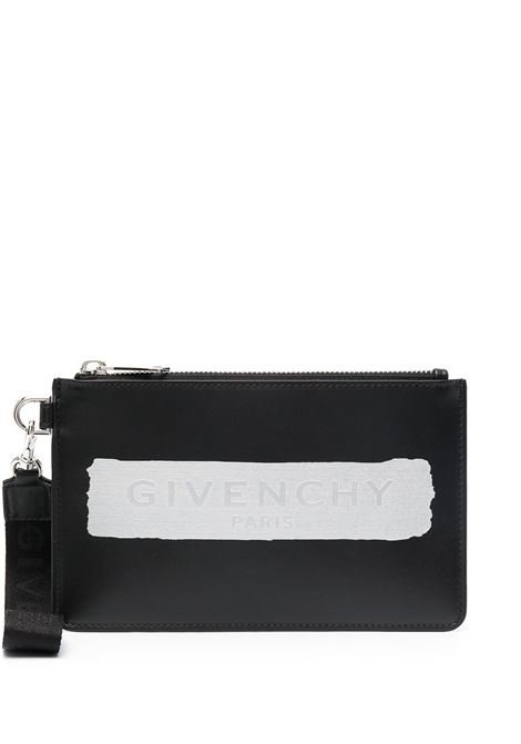 Black calf leather pouch featuring white Givenchy graphic logo print  GIVENCHY |  | BK603PK136-MINI POUCH STRAP008