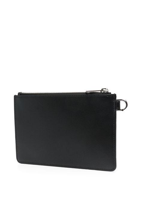 Pochette in pelle di vitello nera con stampa grafica Givenchy bianca GIVENCHY | Clutch | BK603PK136-MINI POUCH STRAP008