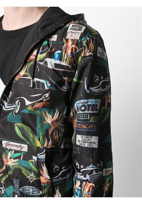 Giubbino nero reversibile con cappuccio in stampa Motel Print multicolore GIVENCHY | Giubbini | BM00PC13KU013
