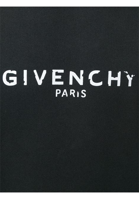 Felpa nera in cotone con girocollo con logo Givenchy bianco GIVENCHY | Felpe | BM700U30AF001