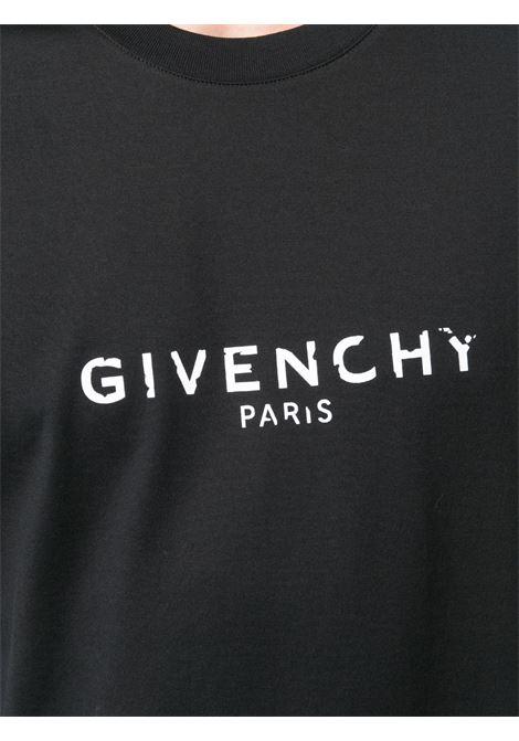 Black cotton T-shirt featuring white Givenchy logo GIVENCHY |  | BM70K93002001