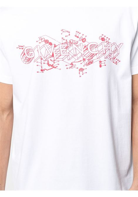 White cotton Schematics logo-print T-shirt  featuring red logo print at the chest GIVENCHY |  | BM710W3002100