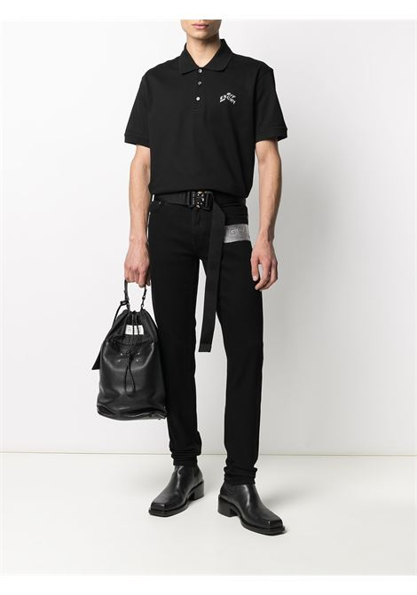 Black cotton polo with white Givenchy embroidered logo  GIVENCHY |  | BM71173006001