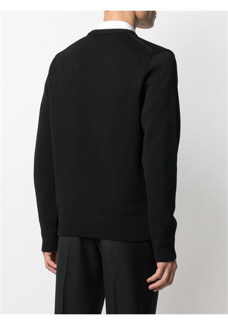 Black cotton intarsia-knit Givenchy logo jumper GIVENCHY |  | BM90F7401M004