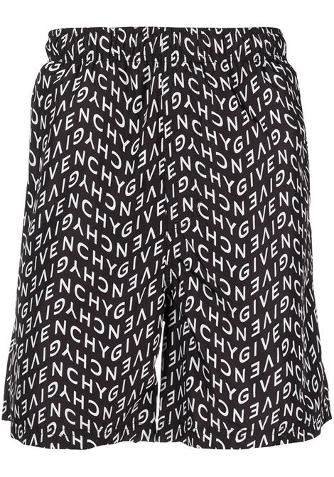 Black and white swimming shorts featuring all over Givenchy lettering logo GIVENCHY |  | BMA00J1Y9A004