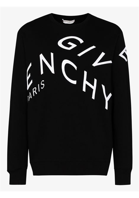 Black cotton-blend refracted-design white Givenchy embroidered-logo sweatshirt featuring asymmetric  embroidery GIVENCHY |  | BMJ07H30AF004
