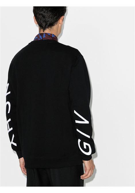 Felpa nera con logo Givenchy ricamato in misto cotone bianco a disegno rifranto con ricamo asimmetrico GIVENCHY | Felpe | BMJ07H30AF004