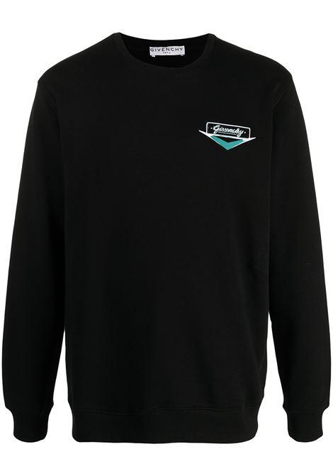 Felpa in cotone nero con stampa logo Motel con girocollo GIVENCHY | Felpe | BMJ09V30AF001