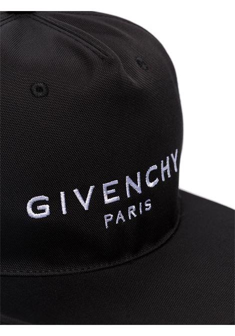 Cappellino da baseball in cotoner nero con logo Givenchy ricamato in bianco GIVENCHY | Cappelli | BPZ001K0CE001