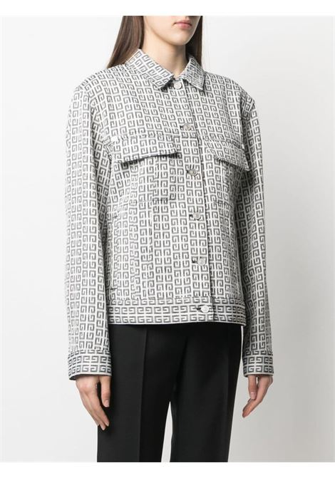 Giacca in denim con logo Givenchy jacquard bianco e nero GIVENCHY | Giubbini | BW00C313N0004