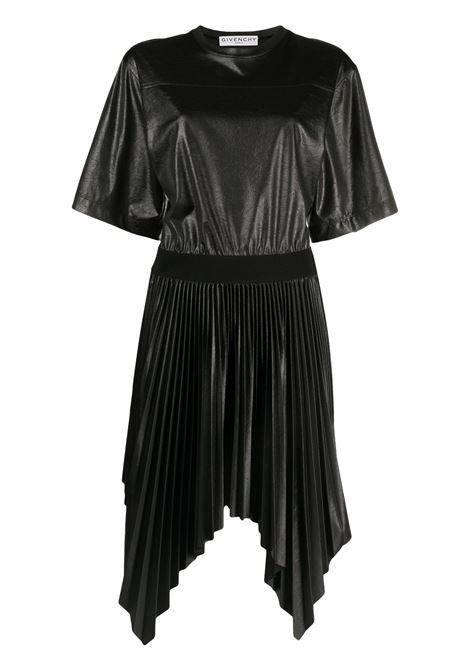 Black cotton pleated handkerchief-hem dress  GIVENCHY |  | BW21323Z4N001