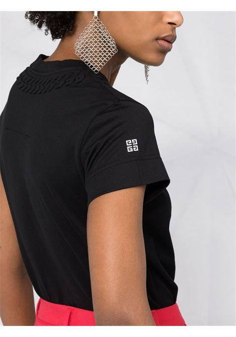 Black jersey T-shirt featuring embossed mock chain detail GIVENCHY |  | BW707Y3Z4Z001