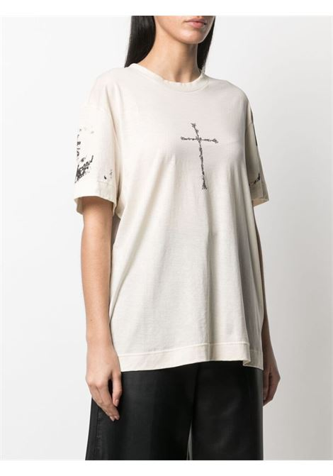 T-shirt unisex in cotone beige con stampa grafica Cross GIVENCHY |  | BW707Z3Z5P267