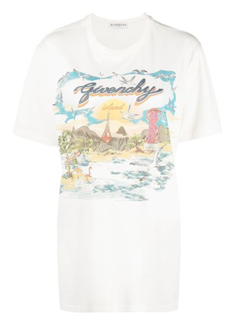 Ivory and multicolored cotton Givenchy Island print T-shirt  GIVENCHY |  | BW708J3Z4P105