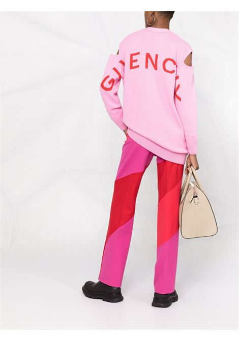Pink and red wool-cashmere intarsia cut-out cardigan  GIVENCHY |  | BW90CN4Z9L910