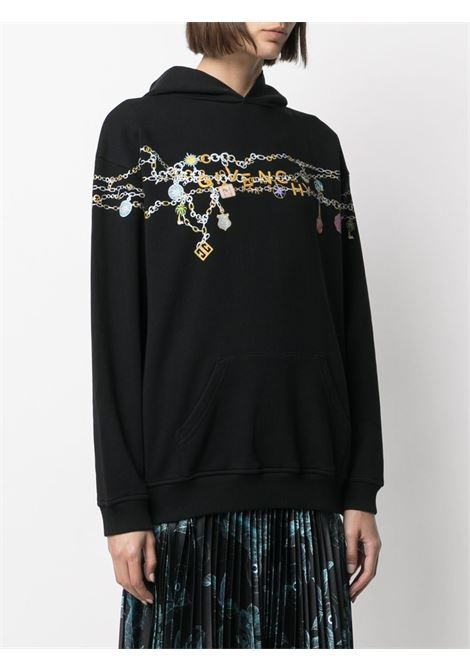 Black cotton hoodie featuring embroidered chain multicolored motif GIVENCHY |  | BWJ01C3Z4Q001