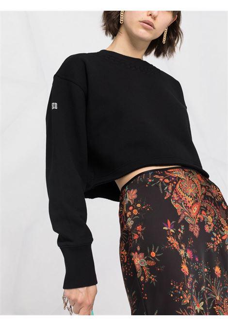 Black cotton cropped sweatshirt  GIVENCHY |  | BWJ0203Z4Z001