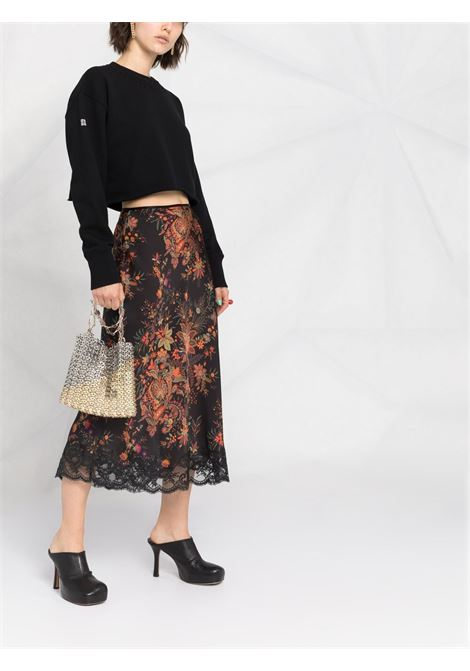 Felpa cropped in cotone nero con logo Givenchy stampato sulla manica GIVENCHY | Felpe | BWJ0203Z4Z001