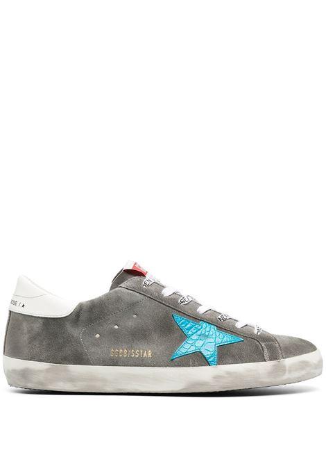 Sneakers SuperStar in pelle e camoscio grigio con stella celeste ai lati GOLDEN GOOSE | Sneakers | GMF00101-F00033960253