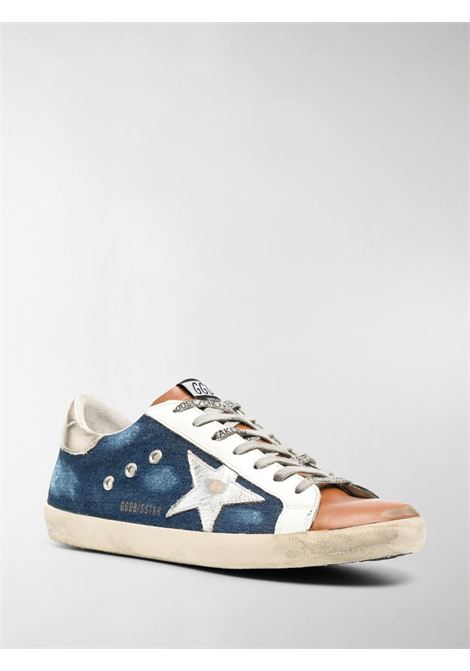 Blue,brown,white leather and cotton-denim effect Superstar panelled sneakers  GOLDEN GOOSE |  | GMF00101-F00035180311