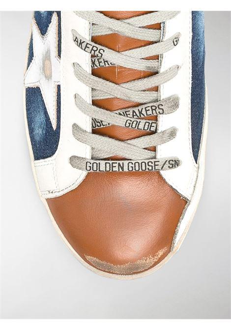 Sneakers Superstar blu, marroni e bianche in pelle e cotone effetto denim a pannelli GOLDEN GOOSE | Sneakers | GMF00101-F00035180311