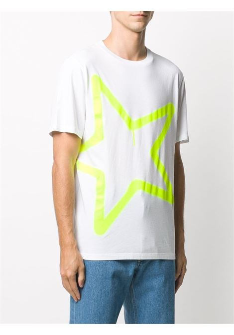 T-shirt in cotone bianco con stampa grafica stella giallo fluo GOLDEN GOOSE | T-shirt | GMP00456-P00018710368