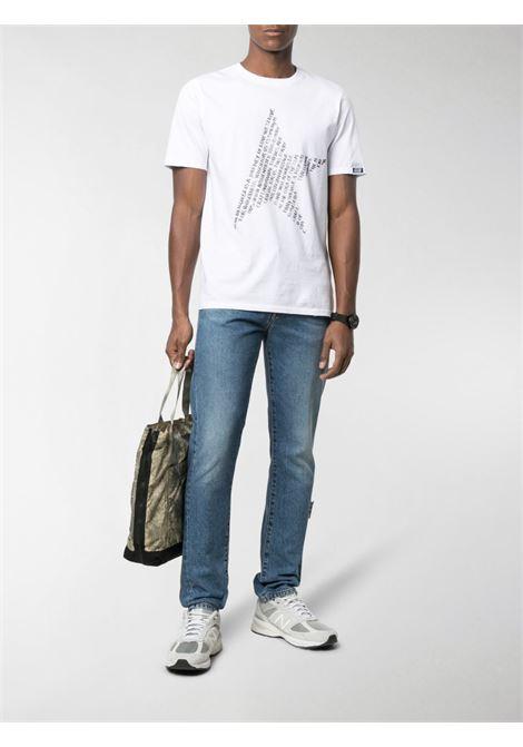 T-shirt bianca in cotone con stampa stella nera GOLDEN GOOSE | T-shirt | GMP00780-P00045210546