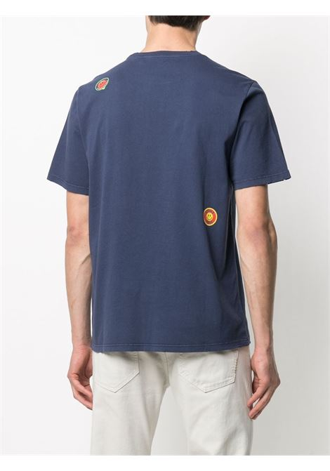 T-shirt in cotone blu intenso con sitckers multicolor GOLDEN GOOSE | T-shirt | GMP00781-P00043550510