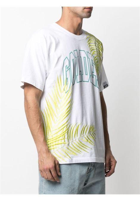 T-shirt bianca in cotone multicolore con logo Golden azzurro GOLDEN GOOSE | T-shirt | GMP00785-P00041710493