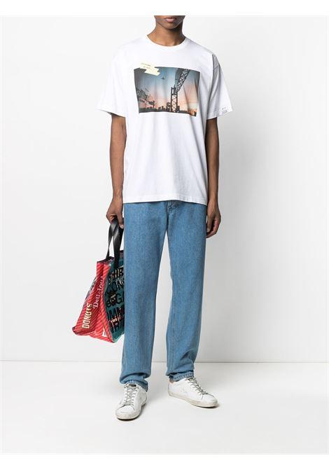T-shirt Dream Maker in cotone bianco con stampa tramonto GOLDEN GOOSE | T-shirt | GMP00786-P00042310330